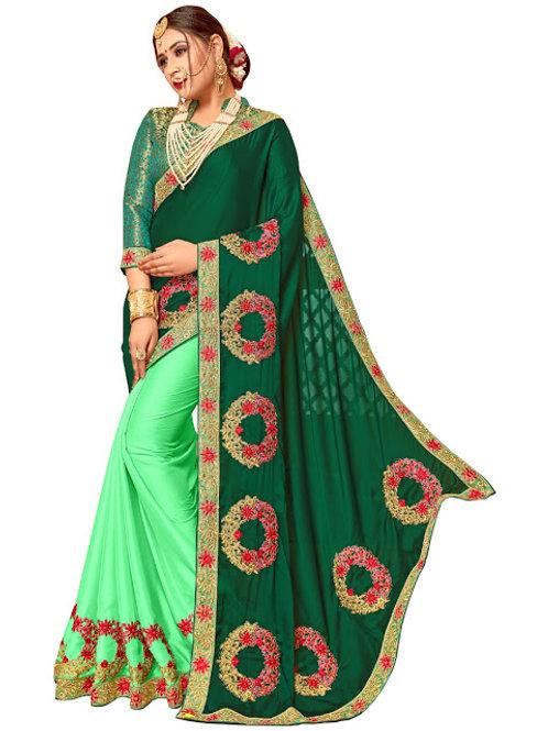 Latest Silk Green Heavy Replica Saree