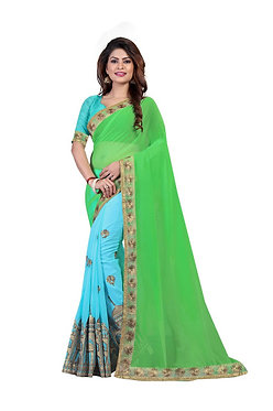 Buy Green & Sky Blue Heavy Georgette Replica Saree