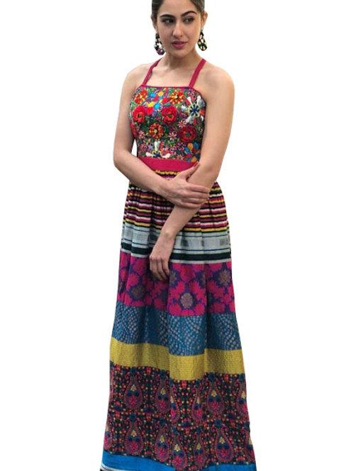 New latest designer sara ali khan multi color gown, under 1500, embroidery work, high demanding, classy gown, gota zari silk
