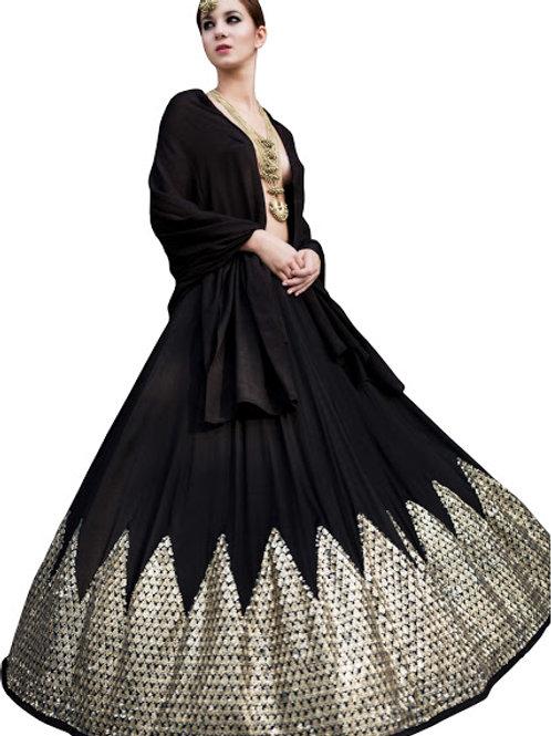 Taffeta Silk Lahenga Choli, Black Lahengas, Georgette Dupatta, Silk Lahengas, Bridal, Black, Exclusive