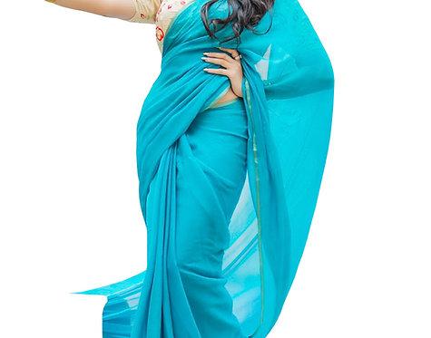 Buy Georgette Sky Blue Bollywood Replica Saree