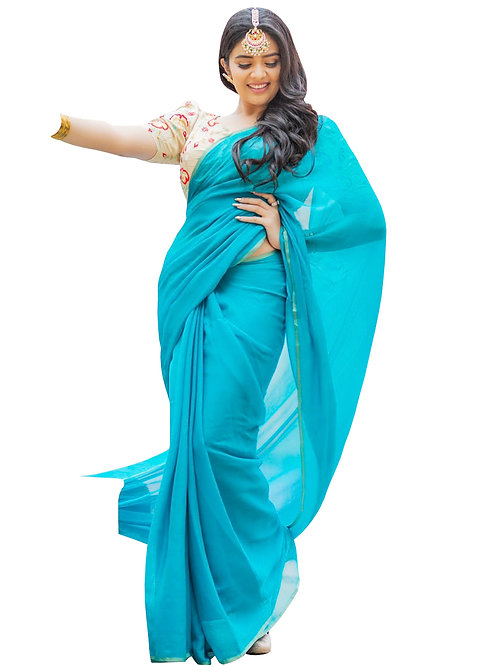 new collection, bollywood replica saree, sky blue saree, white embroidery blouse