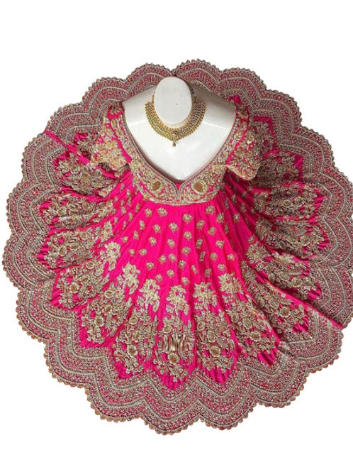 new stylish pink gown, silk gown, embroidery work, party wear gown, wedding gown, semi stitched gown, high demanding gown