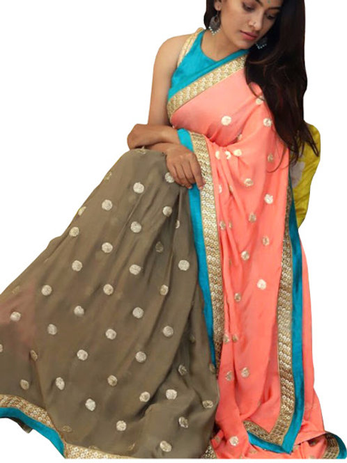 new collection, multi color saree, lace work, embroidery work, casual wear, party wear, designer saree, georgette saree,
