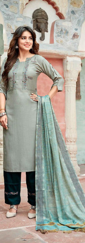 Kaavi Fab Stylish Chinon With Embroidery Work Dress Material
