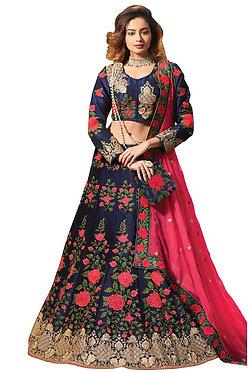 Buy Banglori Silk Blue Replica Lehenga Choli
