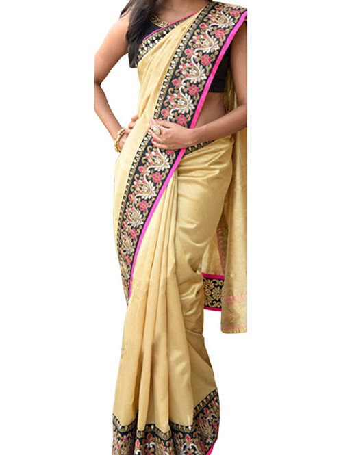 New Gold Nylon Silk Designer Saree