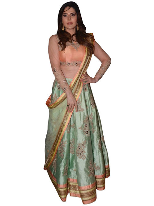 new arrival, latest designer lehenga choli, replica, zarine khan ,paper silk, high demanding,bridle,party,casual, classy,