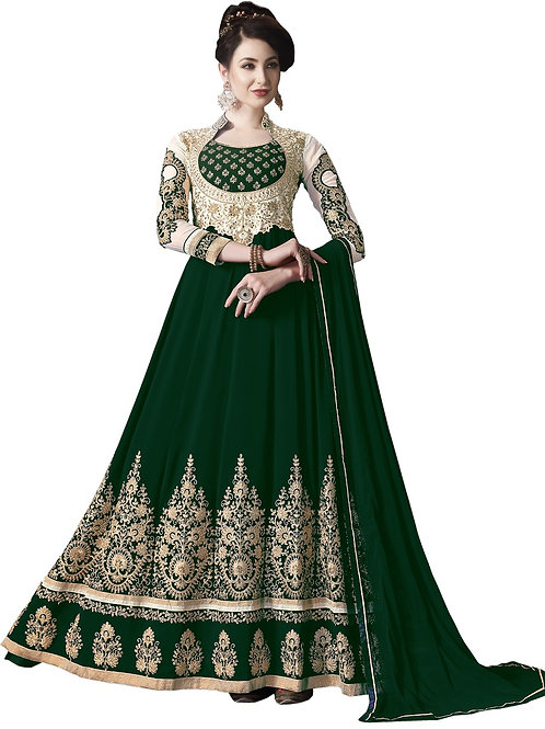 Green Salwar Suits, Green Heavy Work Salwar Suits, Faux Georgette Salwar Suits