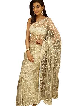 Kajal Agarwal Nylon Net White Heavy Replica Saree