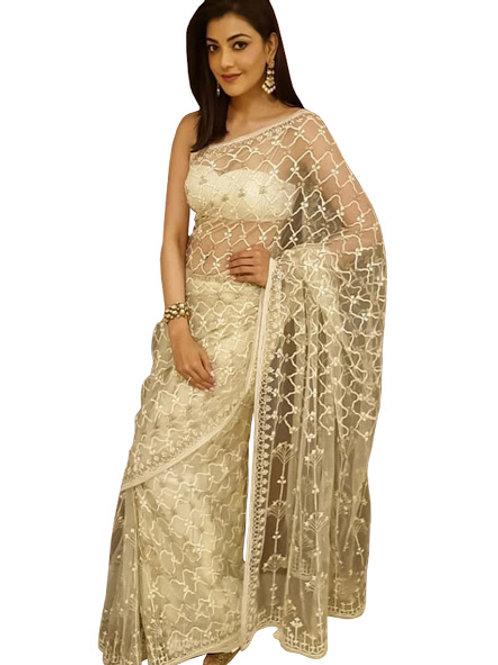 designer saree, kajal agarwal  saree, white saree,nylon net saree,bnglori silk blouse, thread work saree