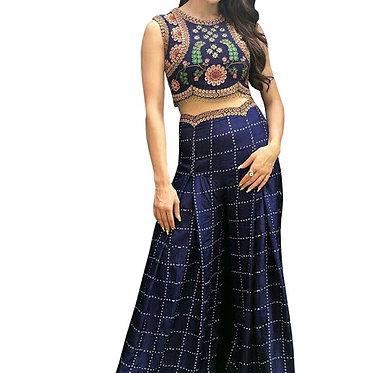 Sara Ali Khan Blue Crepe Silk Palazzo Suit
