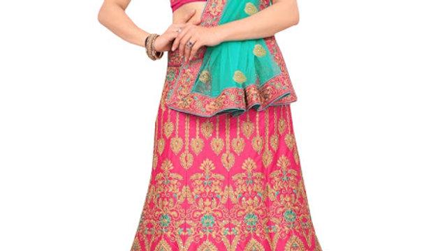 Latest Silk Pink Heavy Lehenga Choli