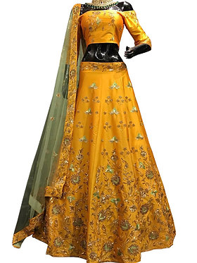 Buy Banglori Silk Yellow Replica Lehenga Choli