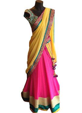 Buy Multi Color Georgette Lehenga Choli