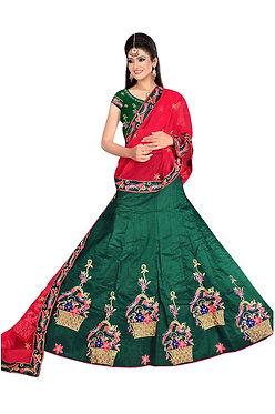 Latest 9000 Silk Rama Green Lehenga Choli