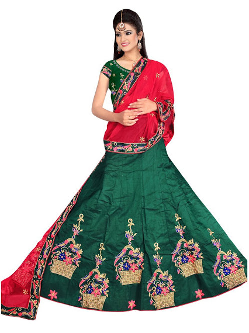 latest collection, green lehenga choli, embroidery work, high quality, bride collection