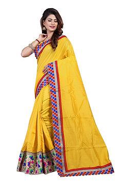 Buy Nylon Silk Georgette Yellow Replica Saree