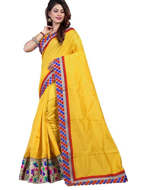 designer saree, yellow silk saree, lace work, work blouse, party wear, casual saree