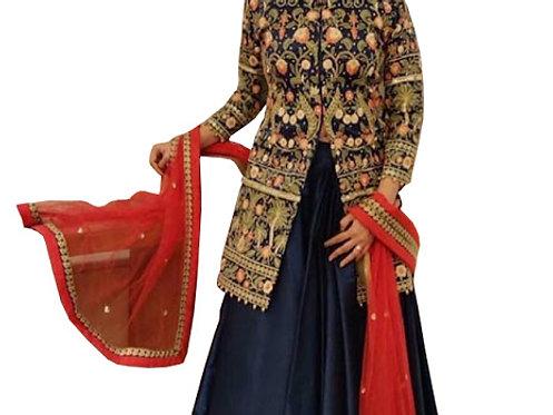 Divyanka Tripathi Blue Taffeta Silk Koti Style Lehenga Choli