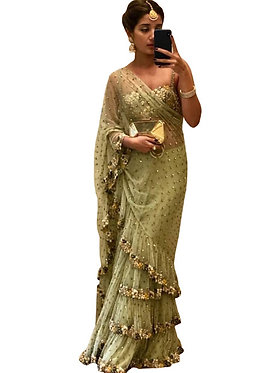 Buy Mono Net Green Fancy Replica Saree