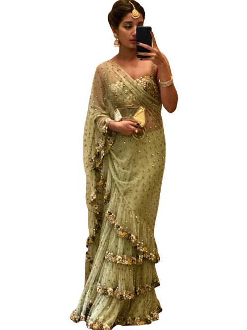 new collection, green mono net saree, embroidery work, lace work, thread work,