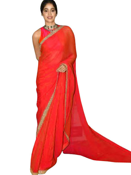 Bollywood replica saree, jhanvi Kapoor red saree, thread work, georgette saree, lace work saree, new arrival, new collection