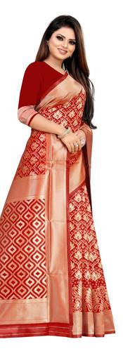 Buy Lichi Silk Red Fancy Replica Saree