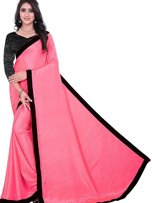 new arrival, pink saree, latest collection, under 500, lace work, rimzim blouse, chinon silk sare