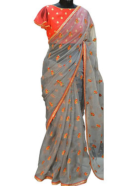 Buy Chiffon Gray Replica Saree