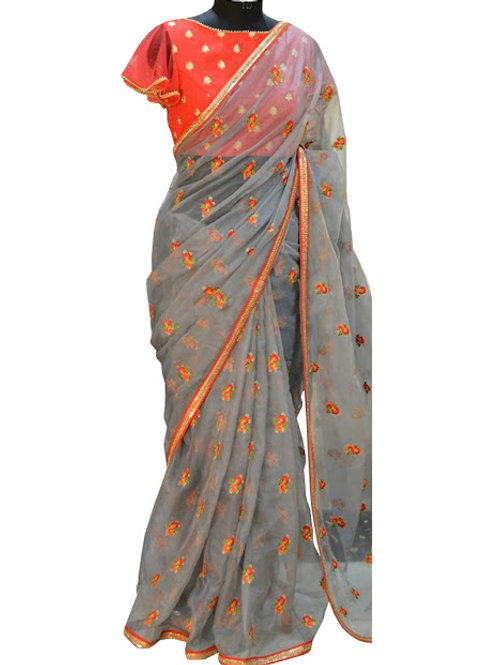 new collection, gray saree, embroidery work. red blouse, party wear, lace work, chiffon saree