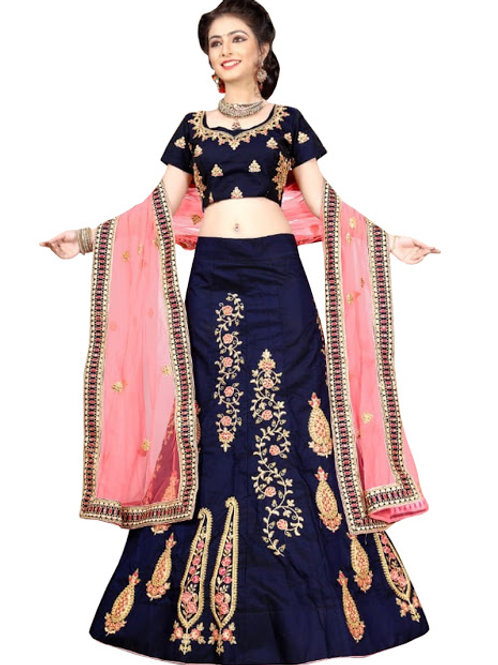 latest collection, blue lehenga choli, embroidery work, velvet fabric, high quality, bride collection, under 3000
