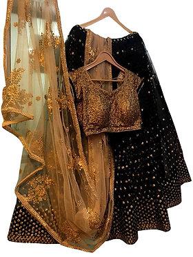 Buy Georgette Black Replica Lehenga Choli