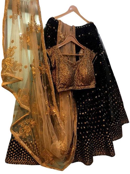 Georgette Lahengas, Net Dupatta, Silk Blouse, Black Lahenga Choli, Bridal Lahenga, Exclusive Lahengas,