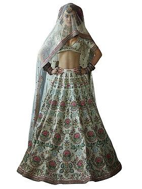 Buy Taffeta Silk White Replica Lehenga Choli
