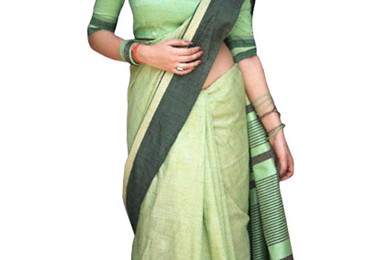 Buy Cotton Silk Green Replica Saree