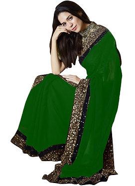 Buy Georgette Silk Green Replica Saree