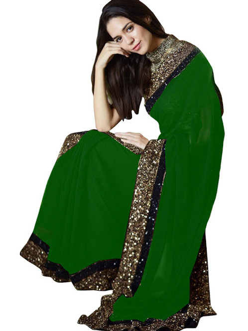 new collection, georgette saree, lace work, sequence work,green plain saree, plain green bouse, under 1000