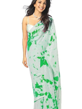 Kiara Advani Georgette Green Saree