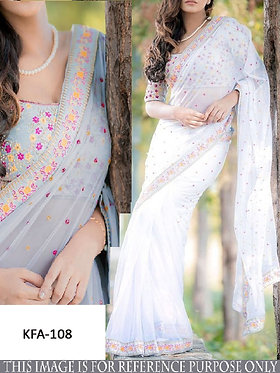 Buy New Arrival Off White Gray Georgette Saree