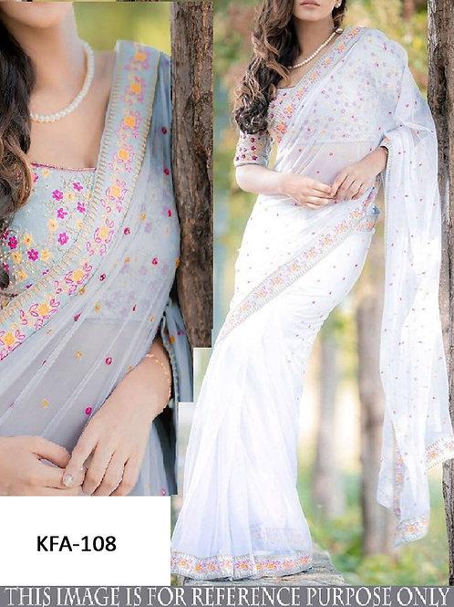 latest collection, new designer saree, off white saree, embroidery saree,  embroidery blouse, classy look saree