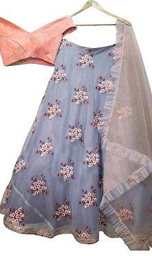 Buy Nylon Net Gray Bollywood Replica Lehenga Choli
