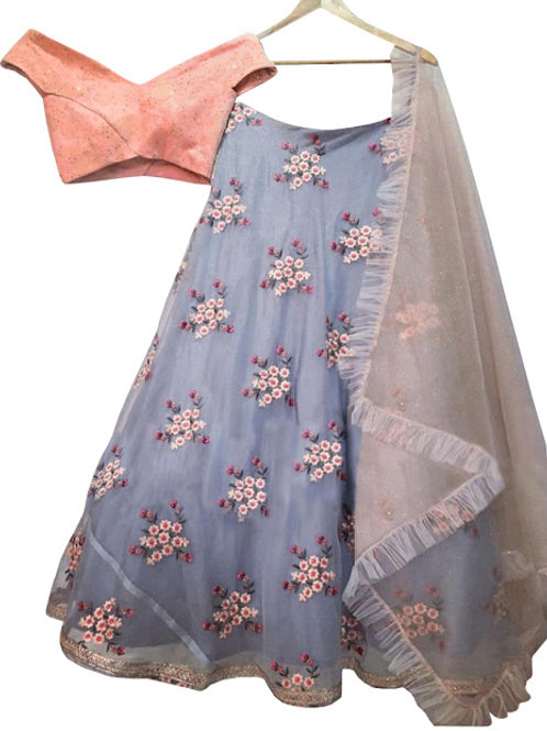Buy Nylon Net Gray Bollywood Replica Lehenga Choli