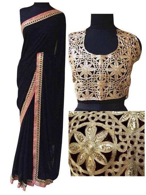 designer saree, black saree, lace work, black saree designer blouse, embroidery saree, georgette saree, high demanding saree