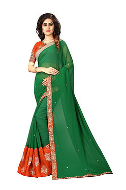 Buy Georgette Dark Green Replica Saree