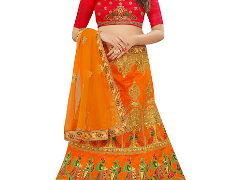 Buy Banglori Silk Orange Heavy Lehenga Choli