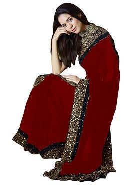 Buy Georgette Silk Red Replica Saree