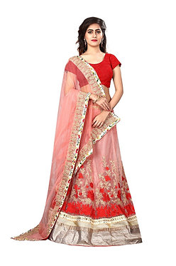 New Pink And Red Net Lehenga Choli