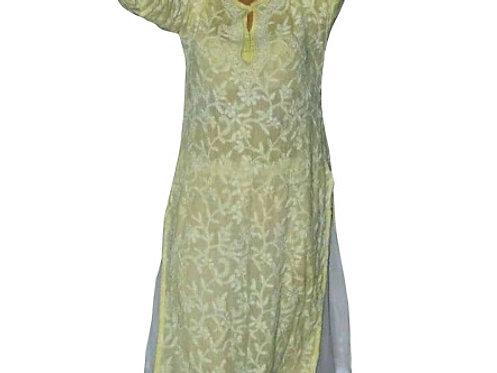 Jhanvi Kapoor Pure Cotton Yellow & White Replica Gown