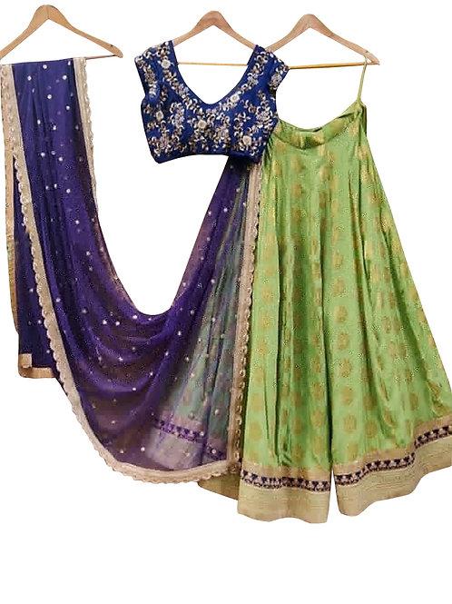 Rama green, Thread Work Lahenga Choli, Taffeta Silk, Blue , Green